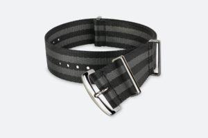 premium black gray striped mora nato watch strap