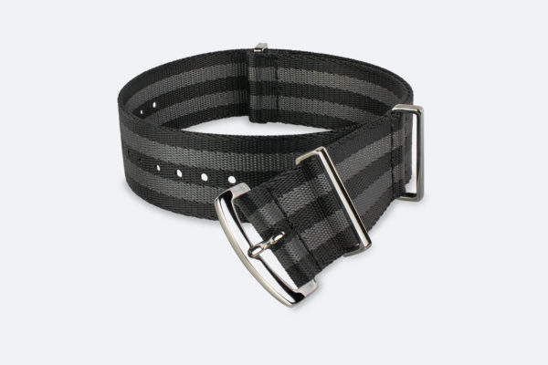 premium black gray striped mora nato watch strap