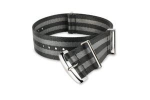 black gray striped nato-style watch strap