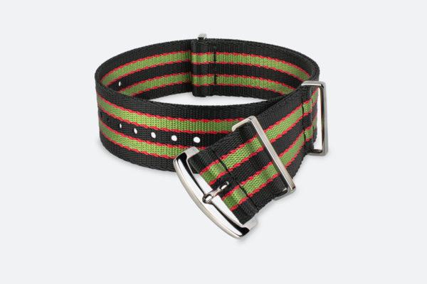 Premium Black Green Red Striped MORA NATO Watch Strap