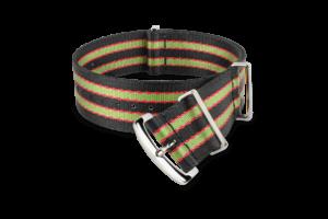 black green red striped MORA nato-style watch strap