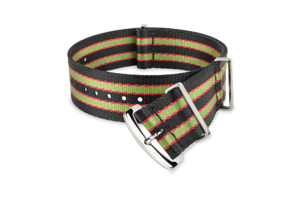 black green red striped MORA nato-style watch strap