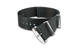 black MORA nato-style watch strap