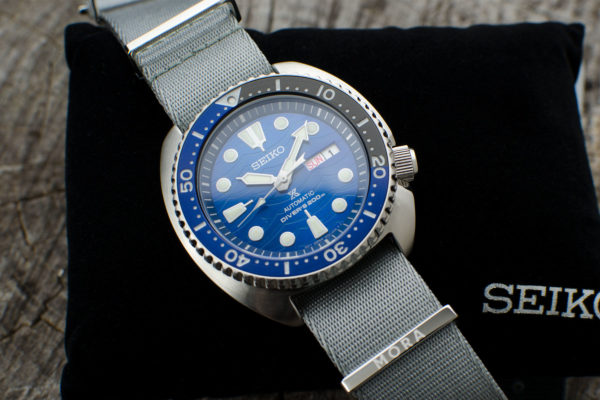 grey mora nato on seiko turtle save the ocean edition