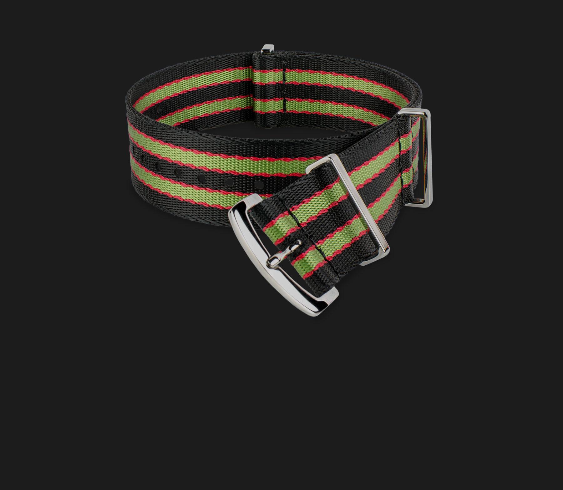 Black Green & Red Striped Strap