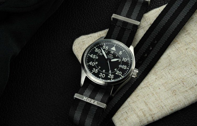 MORA Premium NATO-style watch strap on an Orient Flight watch