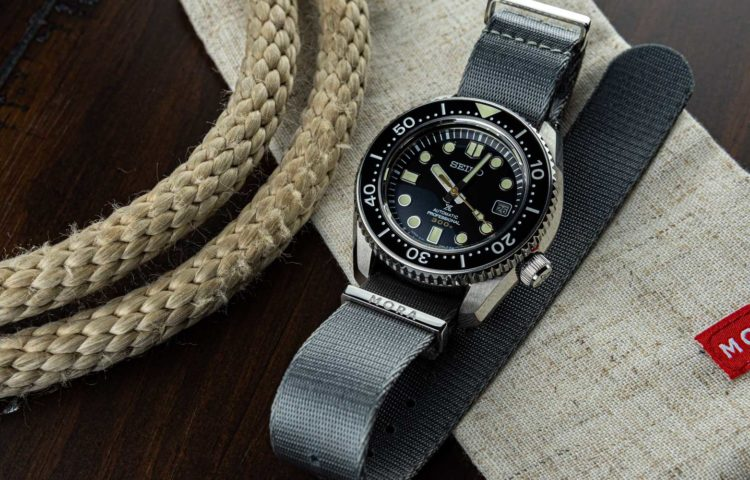 seiko marine master 300 on a grey nato watch band